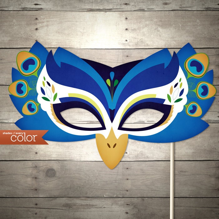 DIY Printable Peacock Mask - Halloween, Birthdays, masquerade ball, mardi gras, and weddings - ShadesOfEveryColor
