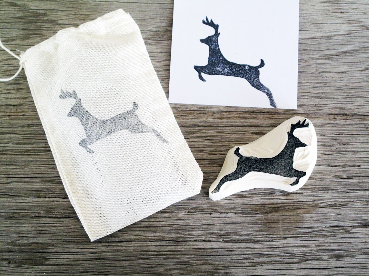 Reindeer Hand-carved Rubber Stamp . Christmas . Unmounted