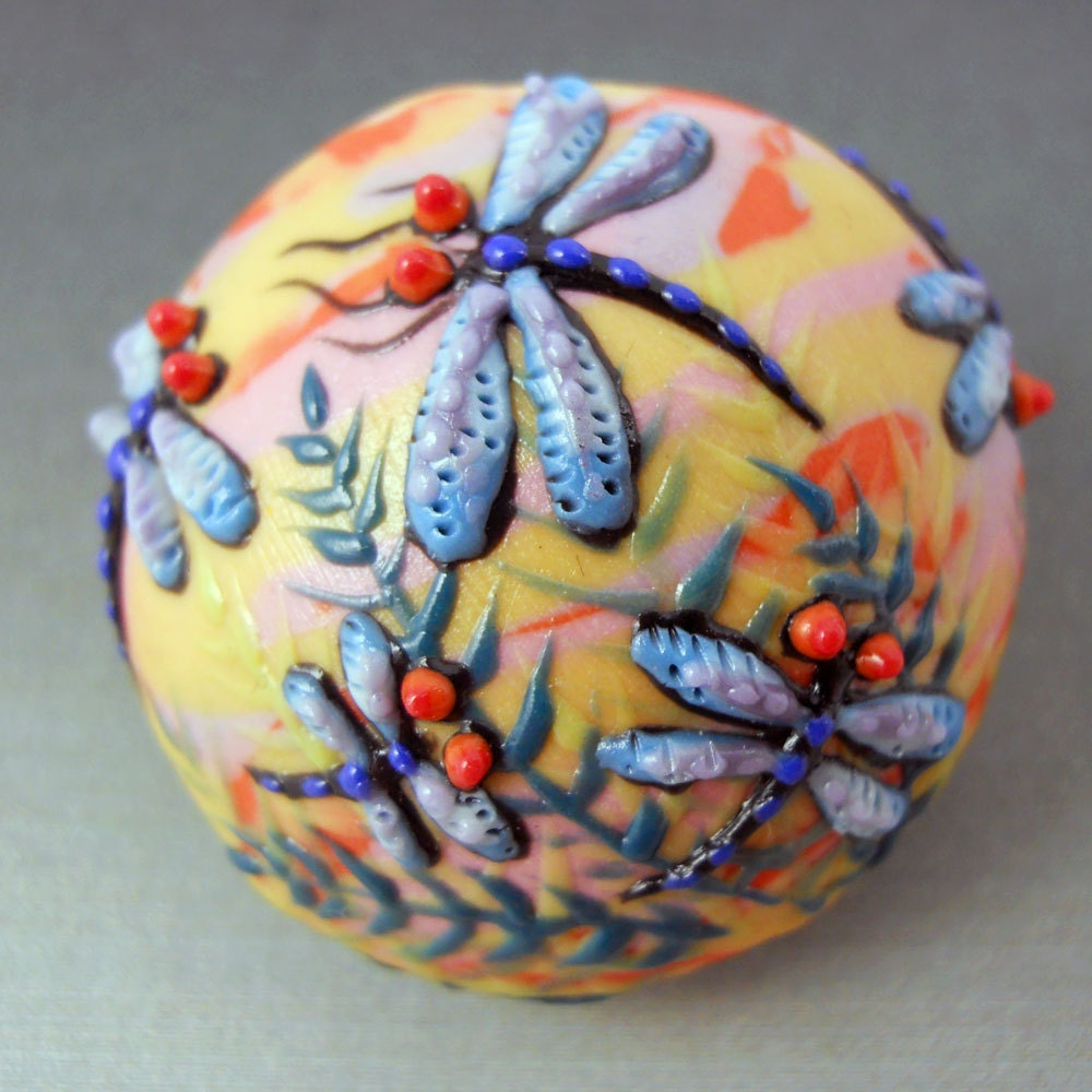 Dragonfly Focal Bead - Handmade Porcelain Art Bead by Joan Miller