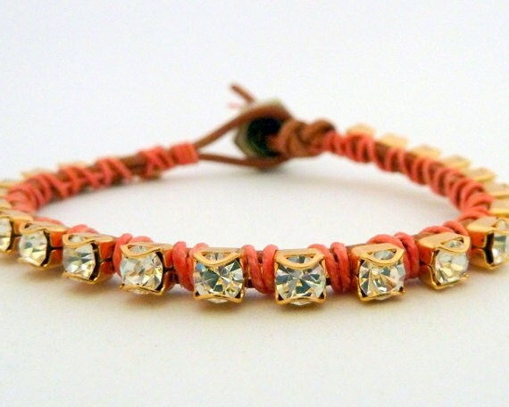 Rhinestone friendship bracelet / brown / coral peach salmon pastel / brass / valentine's day - sukoshishop