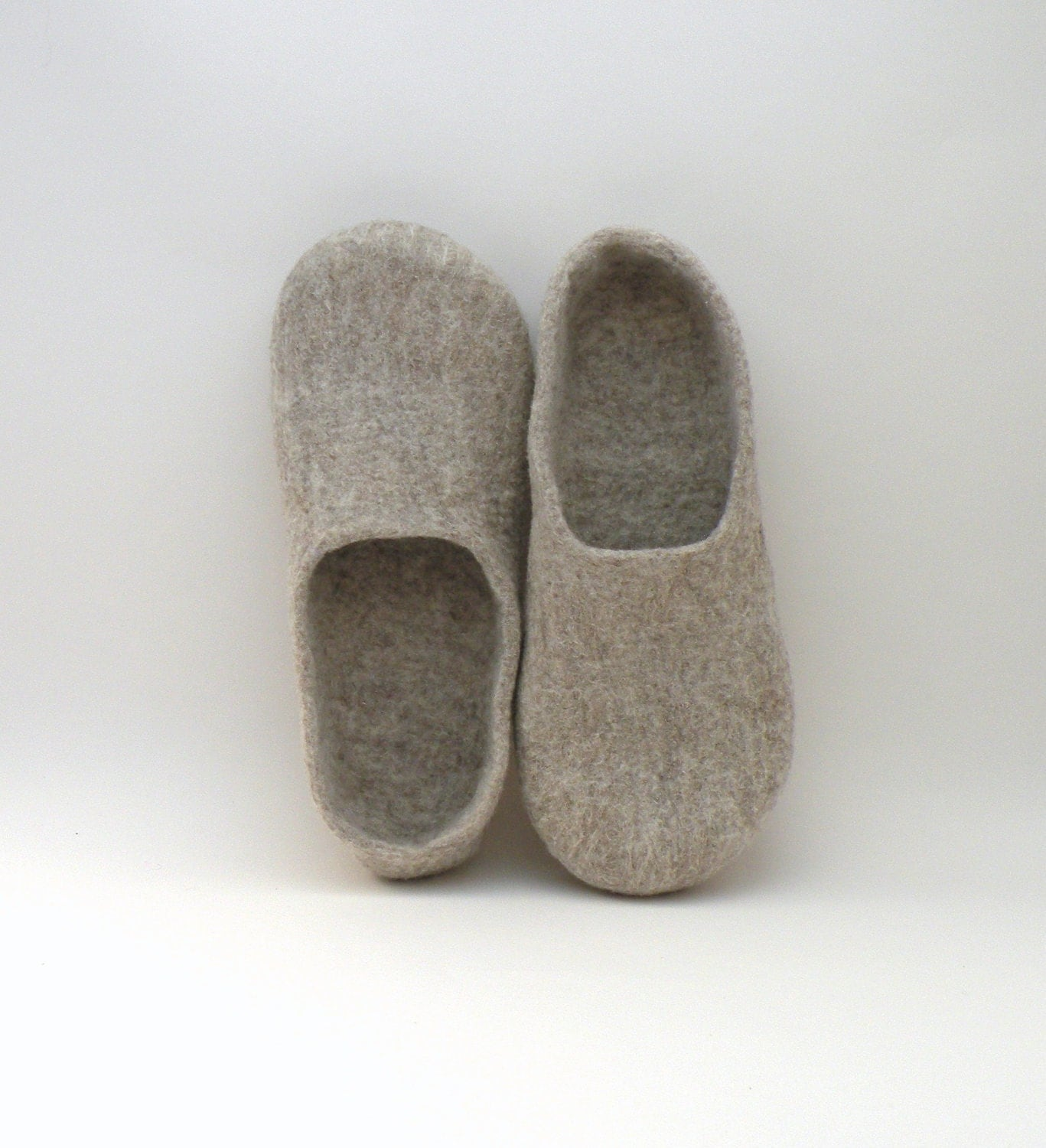 Felted slippers Neutral - natural beige wool clogs - made to order - eco mothers day - eco friendly - AgnesFelt