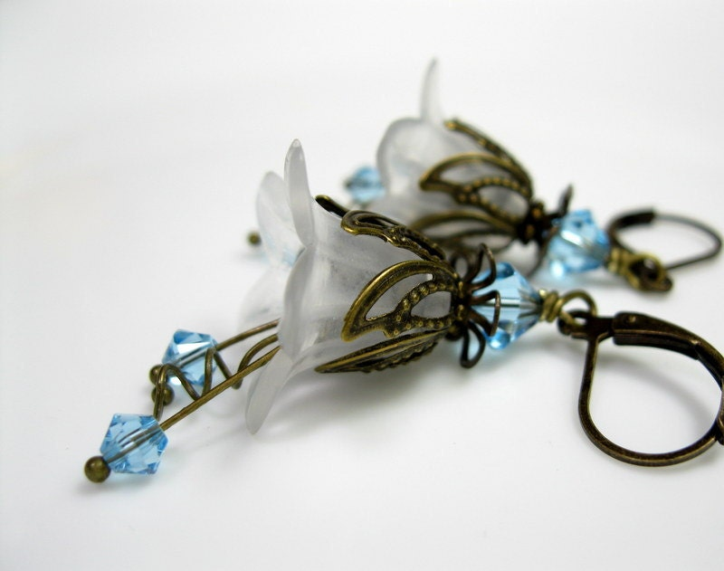 Aquamarine, White, Swarovski, Lucite, Flower Earrings, Art Nouveau