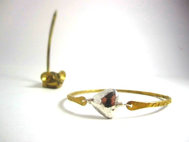 Silver Heart and Raw Brass Bangle