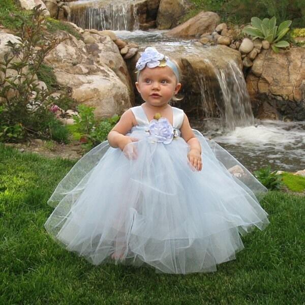 Cinderella Blue Fairy Princess Gown Flower Girl Tutu Dress Halloween Costume