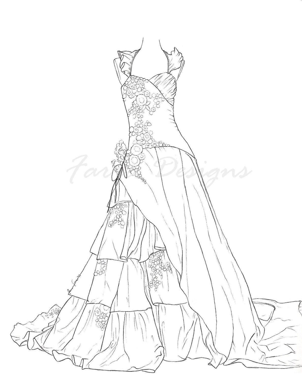 Wedding Dresses Color Pages : Wedding dress coloring pages pictures imagixs