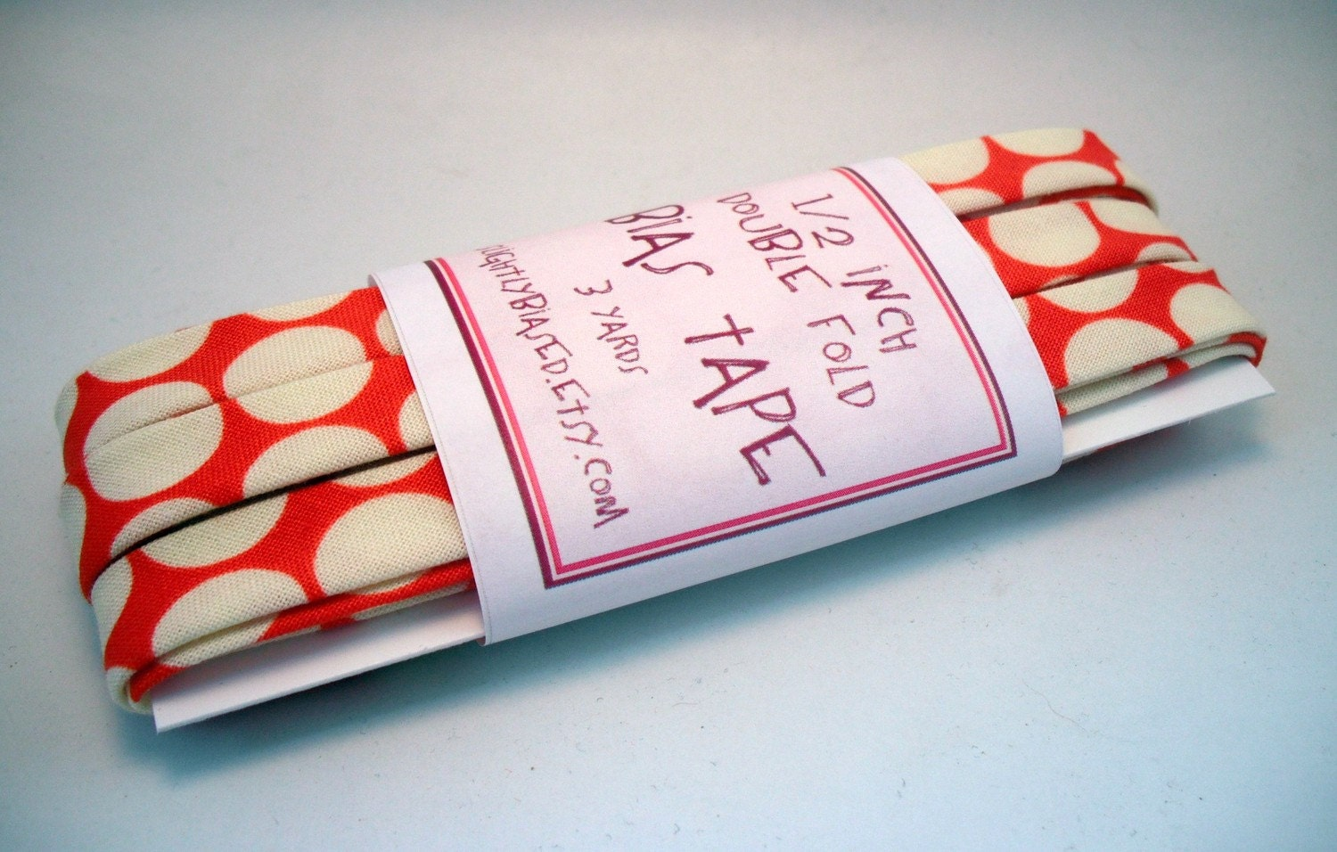 Bias Tape - Full Moon Polka Dot in Cherry Handmade Double Fold Bias Tape, 3 Yards