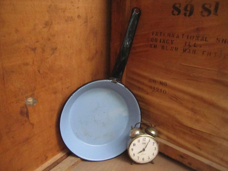 Vintage Blue Enamelware Skillet