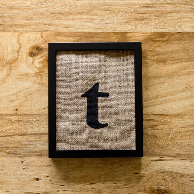 SALE Letter T burlap wall decor alphabet art initials by laxtoyvr