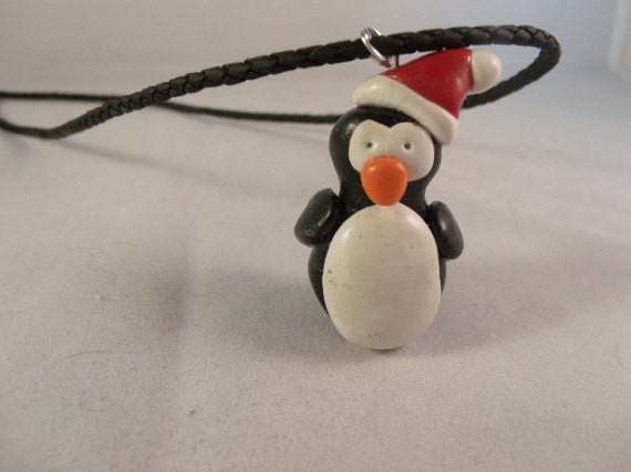 Penguin Necklace with Santa Hat - Made to Order - Personalized