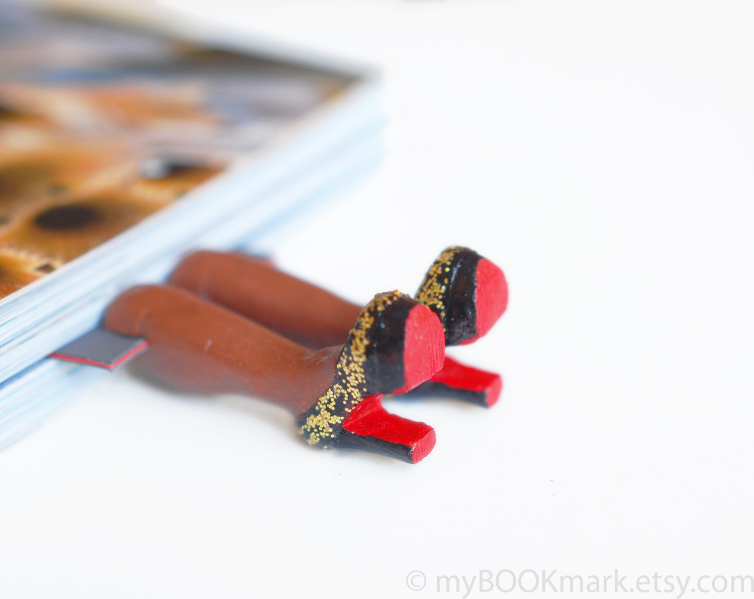 Louboutin shoes bookmark with golden glitter. Chocolate brown skin. Elegant fashion gift. Black, gold and red shoes. oht - MyBookmark