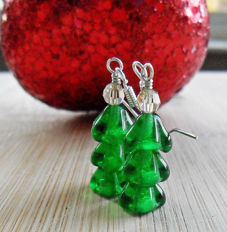 Christmas Tree Earrings, Sterling Silver Christmas Jewelry Emerald Green Czech Glass Christmas Earrings, December