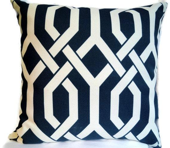 Decorative Pillow - Accent Pillow - Throw Pillow - Navy Trellis Pattern - P Kaufaman Designer Fabric