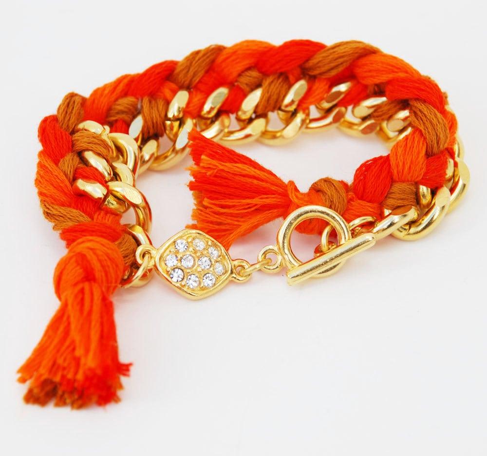 Orange Woven Friendship Bracelet with Pave Detail