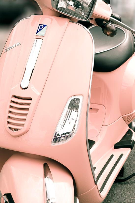 Pink Vespa, mod home decor, retro modern, hipster, peach tones, feminine, pastel, spring photography, wall art, Oht
