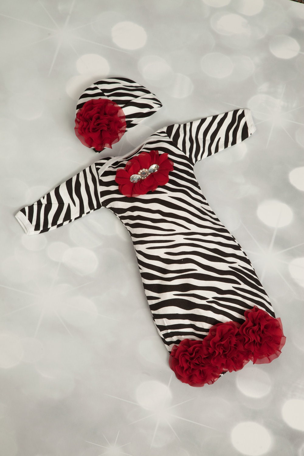 Zebra Newborn Layette Cotton Baby Gown with Burgundy Chiffon Flowers and Rhinestones
