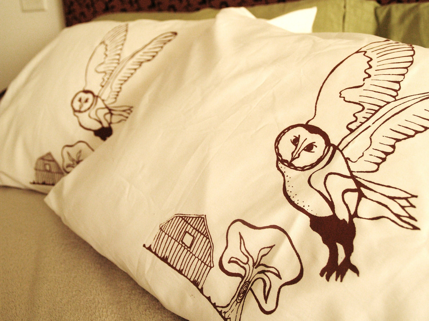 Owl Pillowcase Set - Barn And Tree Farm Print - Hand Screen Printed Brown Ink On White Cotton