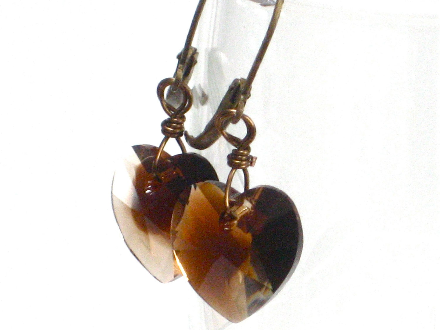 Brown Earrings, Heart Earrings Swarovski Crystal Hearts Antiqued Brass Dangle Fall Fashion - Coffee Love - CCARIA