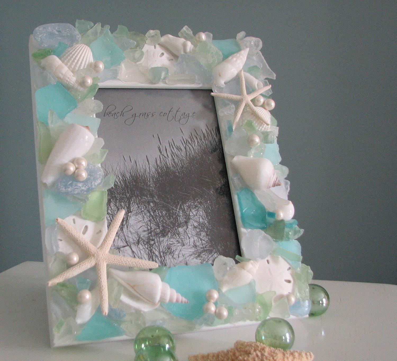 Пляж Декор Seashell Frame - Море стекла кадров в Starfish пастель ш - 5x7