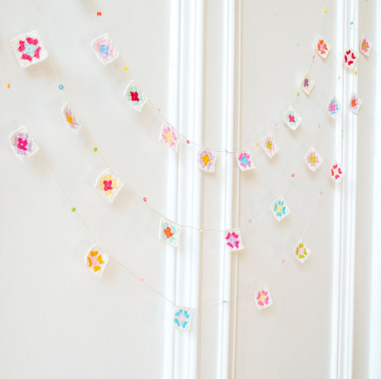Mini Granny Square Garland - Crocheted Housewares