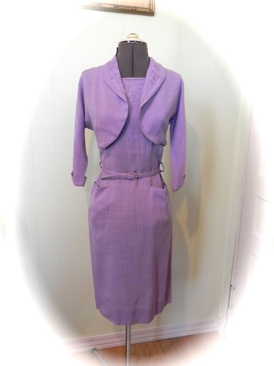 Smashing Vintage 50s Lavender Dress And Bolero Jacket Set Sm - maybel57