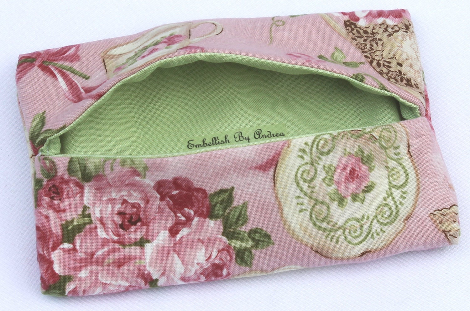 Handmade Tissue Holder, Kleenex Holder, Breast Cancer Support, Tea Cup Fabric, Embellish By Andrea