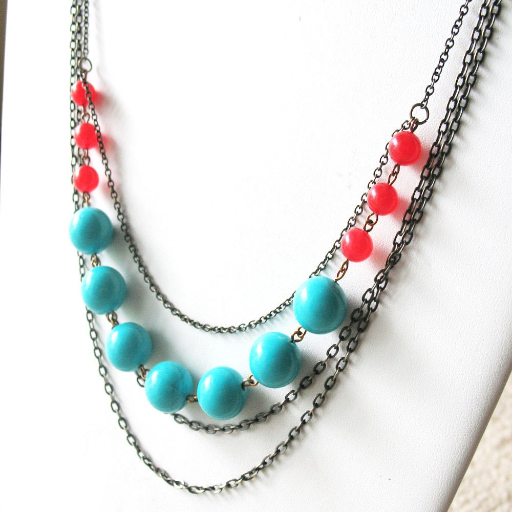 Vintage Bead Seafoam Teal and Red Multi-Chain Necklace - Mod Rosie Sky - pulpsushi