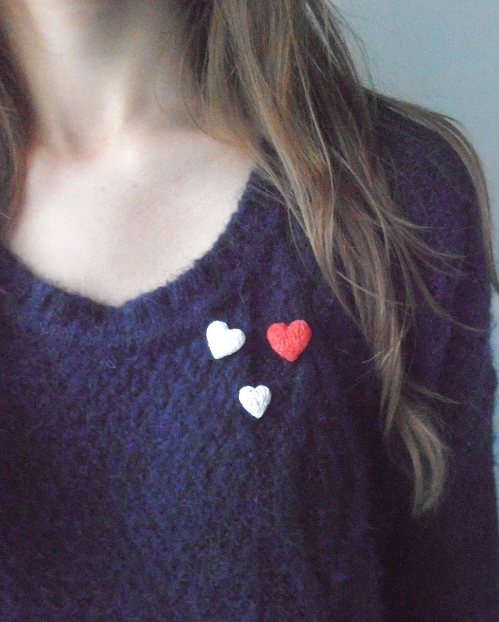 Close To My Heart - handmade white modelling clay pin with golden brass by izzie tale