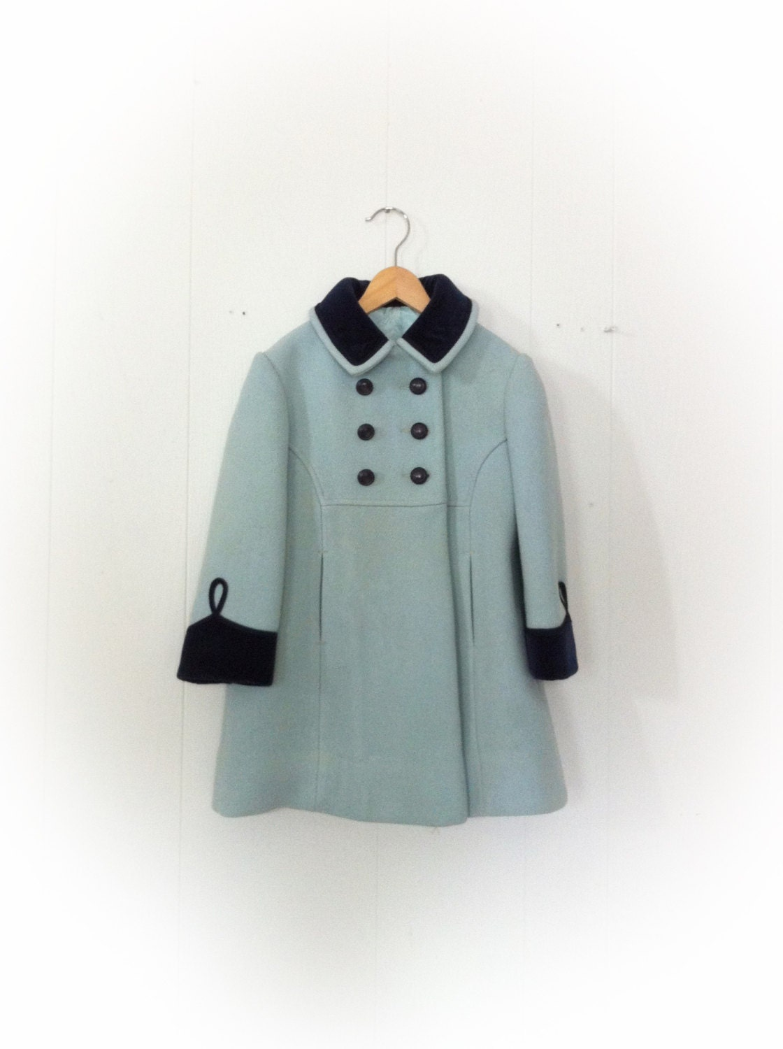Vintage 1960s Girl Childs Coat Rothschild of Philadelphia Aqua Wool and Blue Velvet Trim - ArtDecoDame