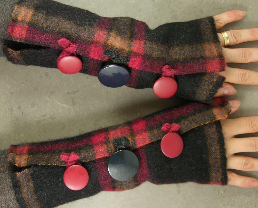 рука без пальцев обогреватели варежки без пальцев руки перчатки манжеты переработанных шерстью пледа черный красный оранжевый экологически чистом унисекс tbteam therougett