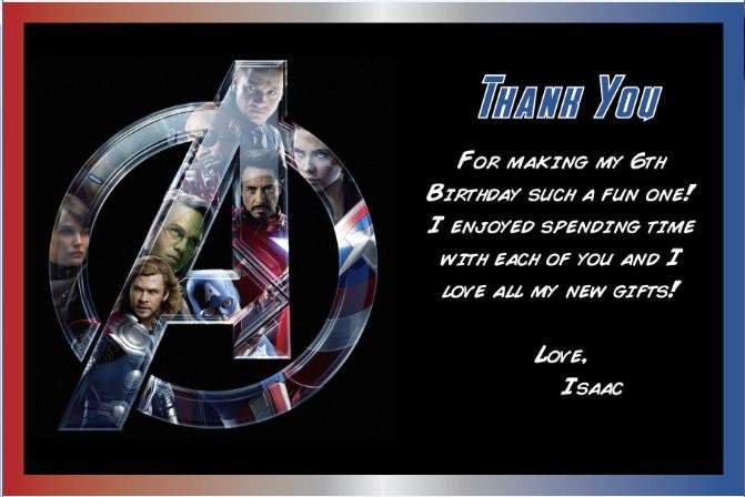 Personalized Avengers Thank You Card