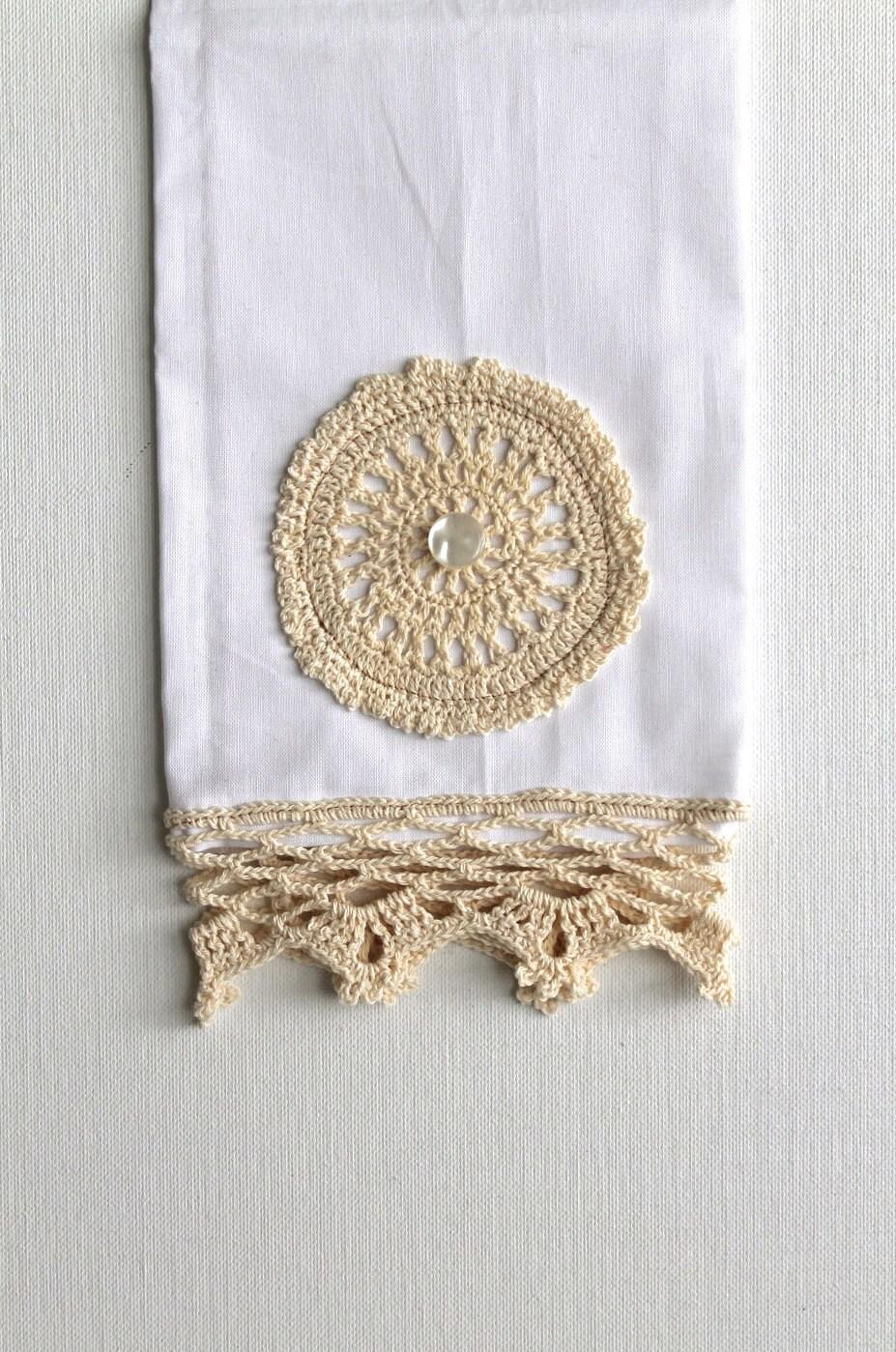 Потертый Chic кухня Показать полотенце вязания крючком кружева полотенце ручной белый крем