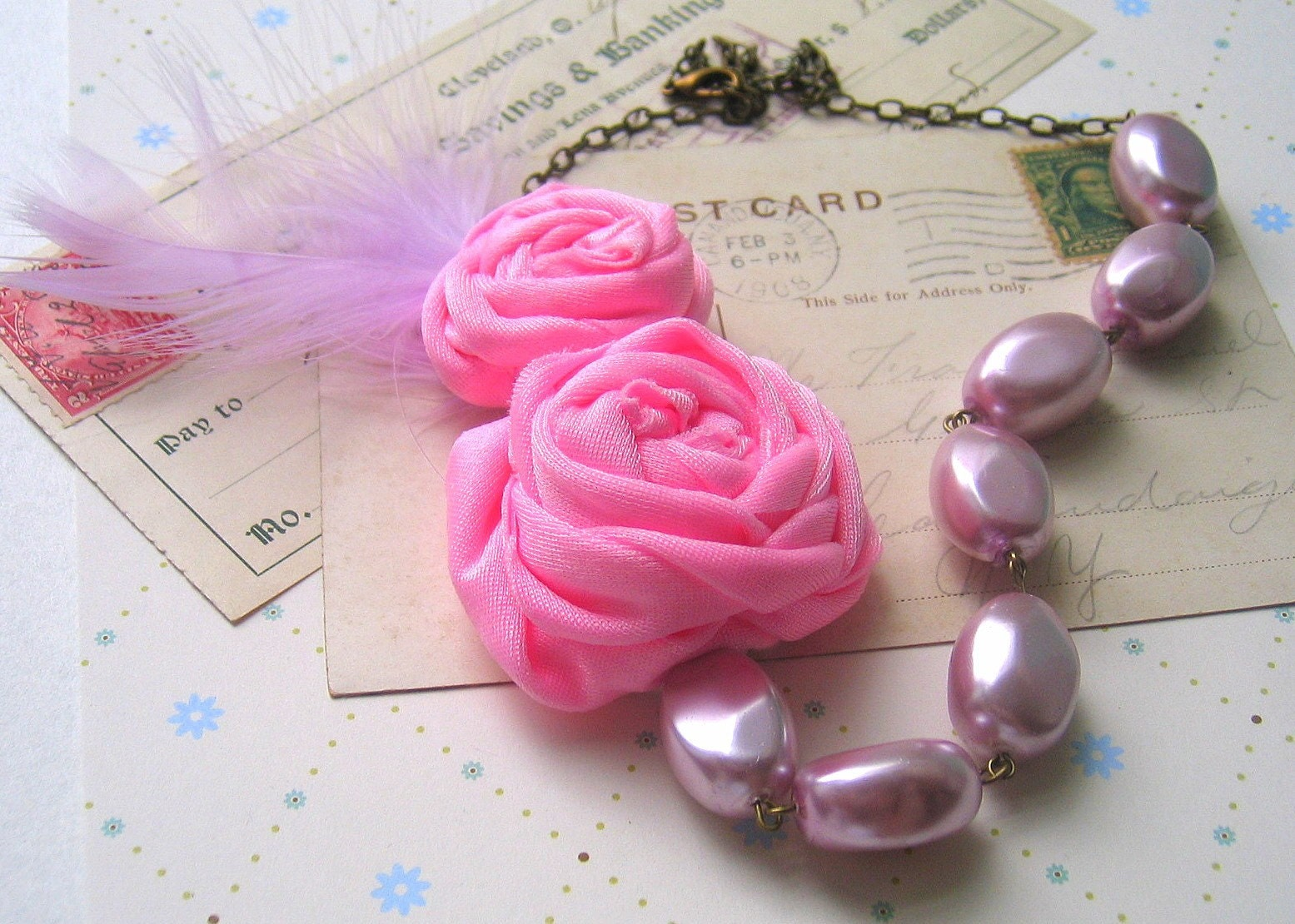 Pink Shabby Rolled Roses Necklace with  Frosted Pink Beads