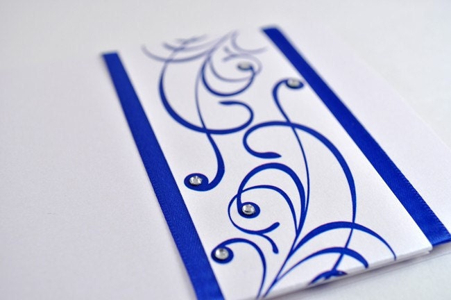 Elegant and Formal Royal Blue Wedding Invitation with Satin Ribbon and