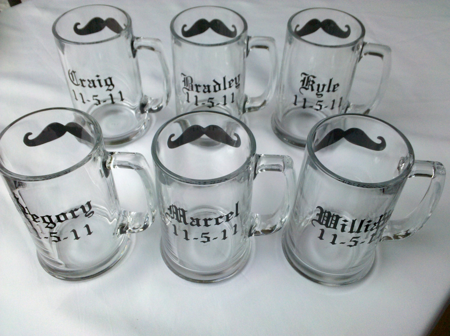 Gift for Groomsmen beer mugs, 6 Chalkboard mustache mugs personalized with name and wedding date