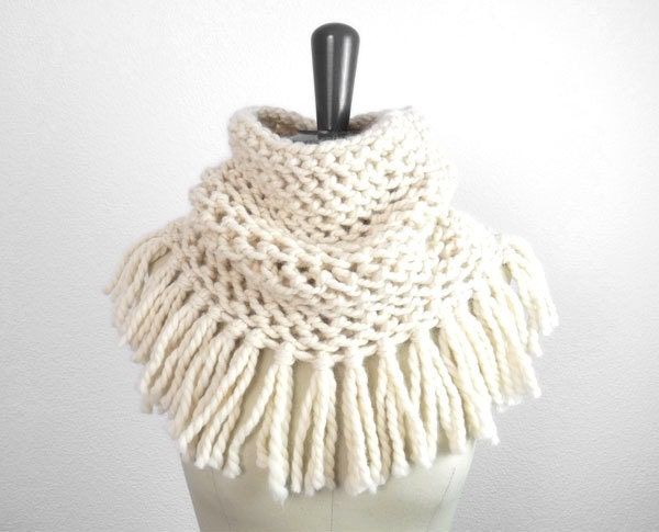 Baby Alpaca Lace Fringe Infinity Loop Scarf in Porcelain, Romantic Spring and Winter Trends