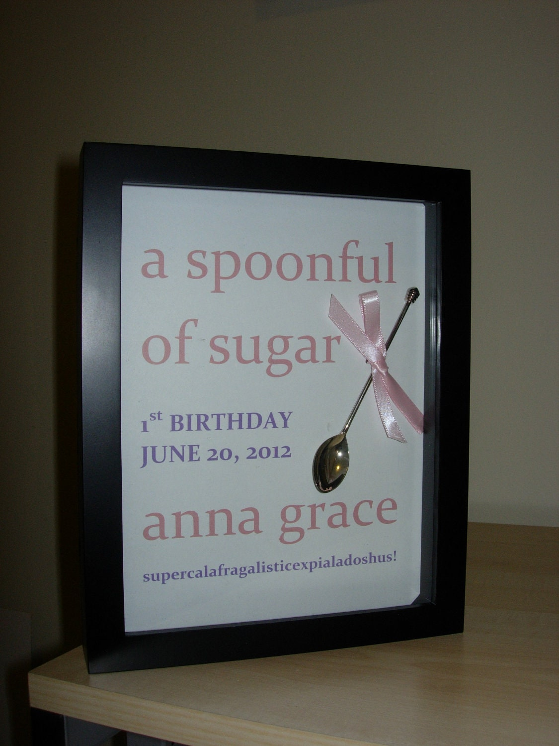 A SPOONFUL OF SUGAR - Themed personalized Birthday Gift Shadow Box