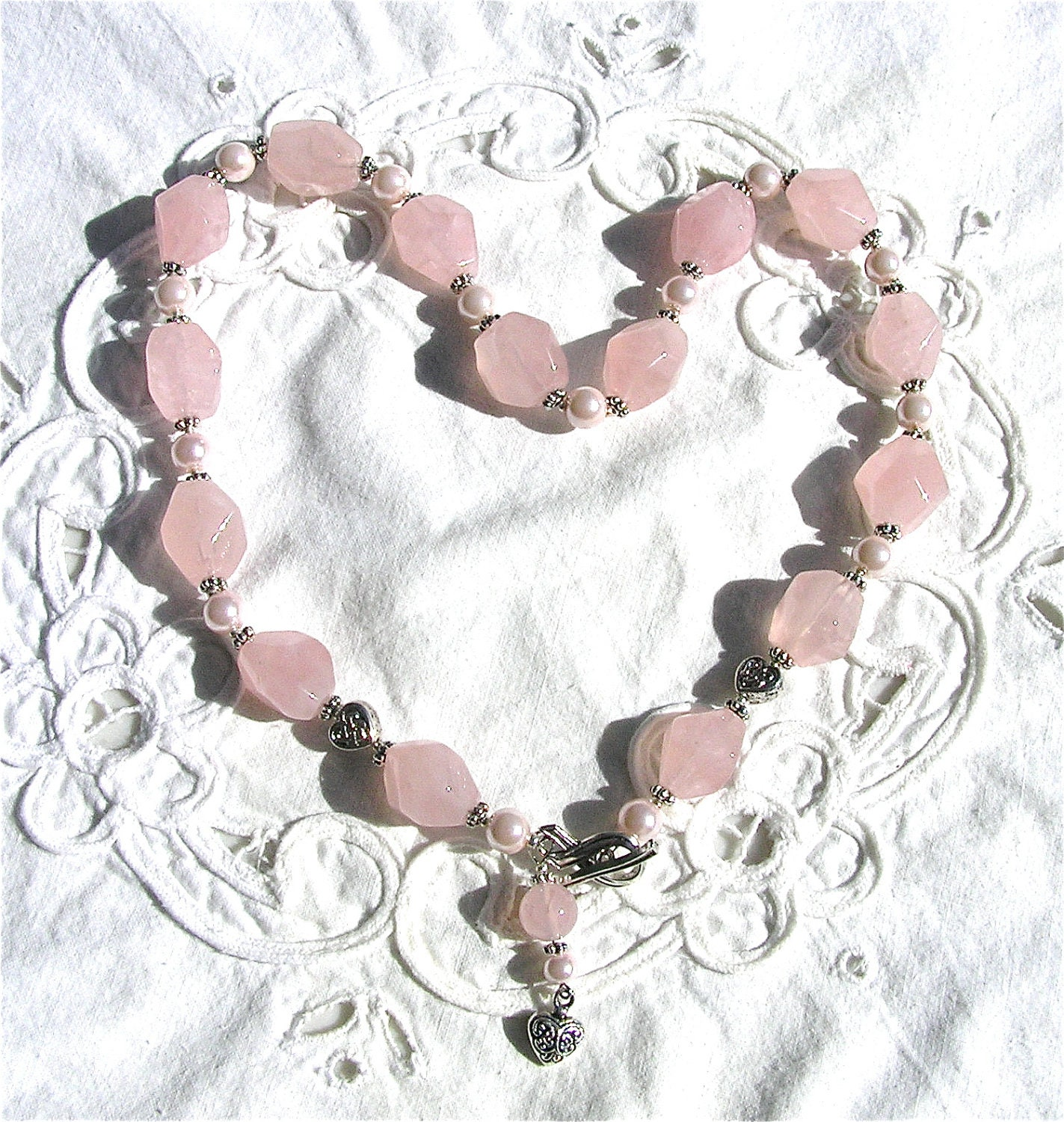 Necklace Rose Quartz Nuggets Pearls & Pink Ribbon Clasp w/ Heart Charm  Mind4Design