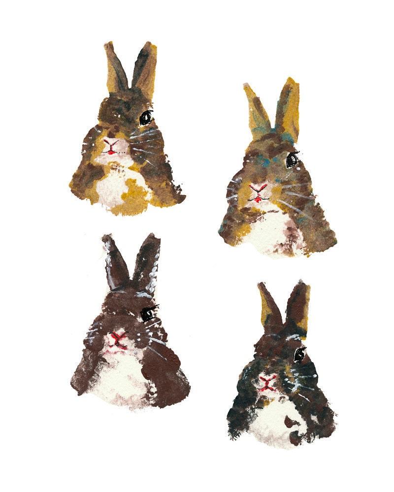 Rabbit Illustration PRINT - Potato Print, Bunny Art, Open Edition - WaterInMyPaint
