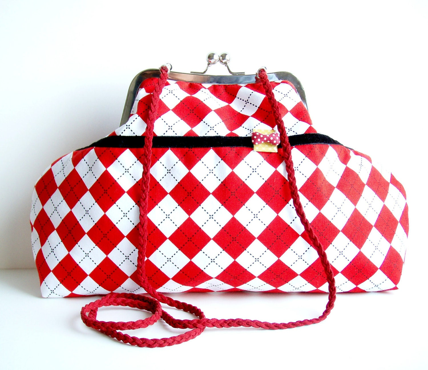 Shoulder Purse Red White Diamonds Printed Fabric Charming Bow - microbio