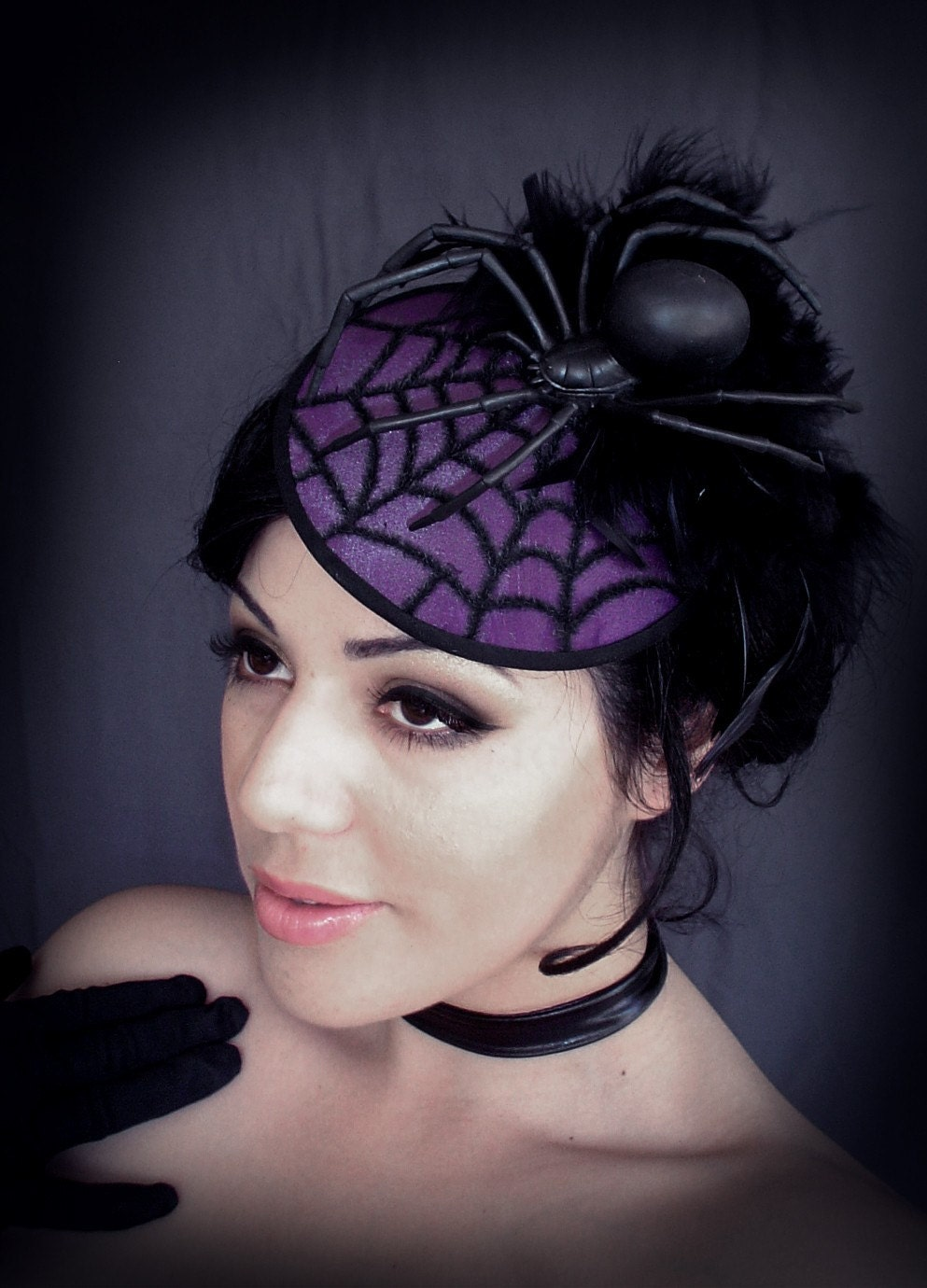 BLACK WIDOW - Spider Millinery Fascinator Hat