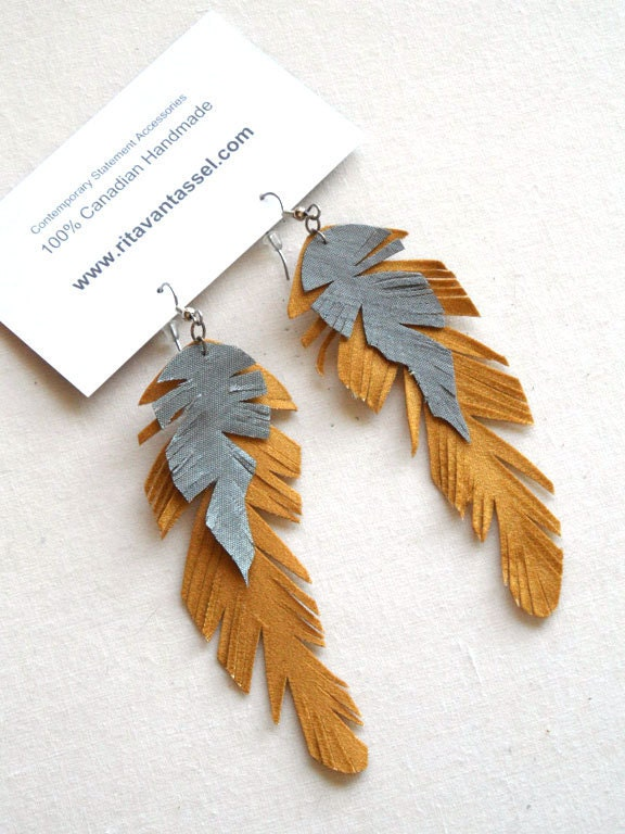 Long Feather Yellow and Silver Gray Satin Earrings