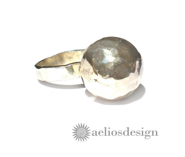 Meteorite Sterling Silver Statement Ring Cocktail Ring