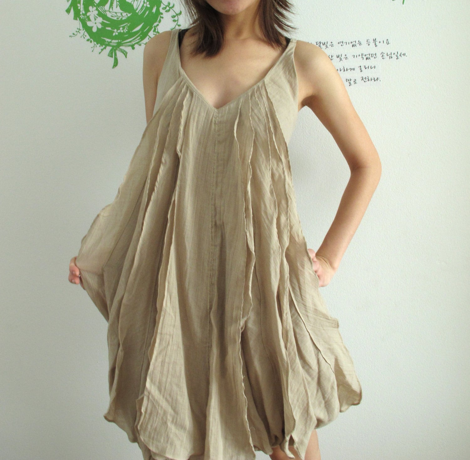 Pleat Front Mini dress in Beige