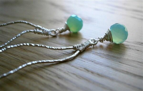 Aqua Green Chalcedony Silver Earrings, Long Designer Earrings, by Pepa Moyano - PepaMoyano