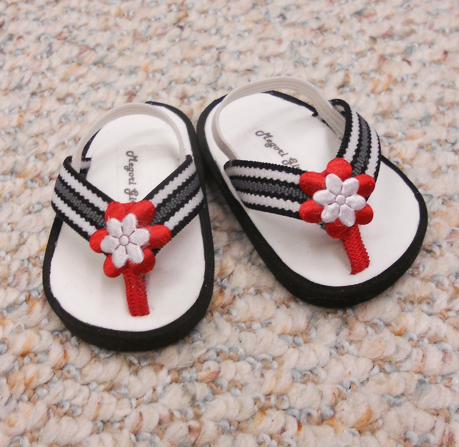 "American Girl Shoes fits 18"" Doll  Flip Flop Sandals  Black and White with Red Flower"