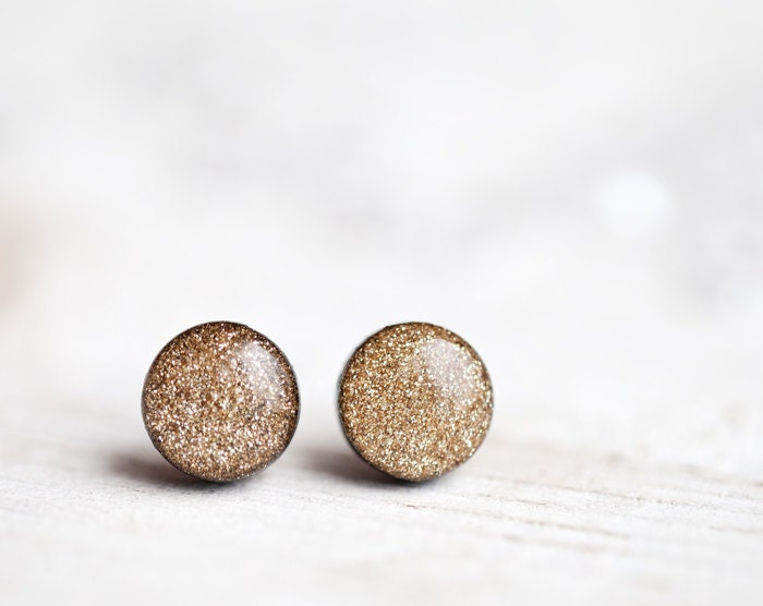 Gold glitter earring studs - Post earrings - Christmas special line (E121)