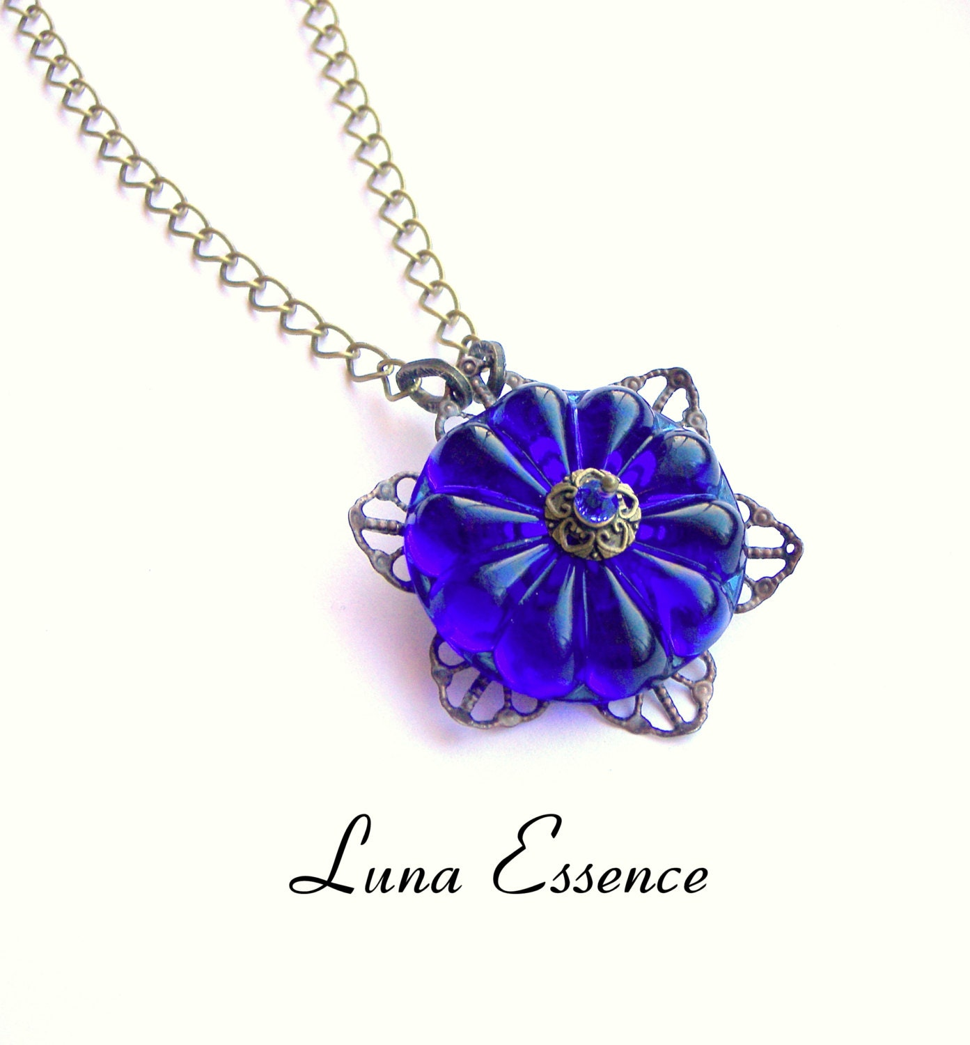 Vintage Necklace , Pendant , Royal Blue , Romantic , Gifts for Her , Womans Fashion Jewelry - LunaEssence