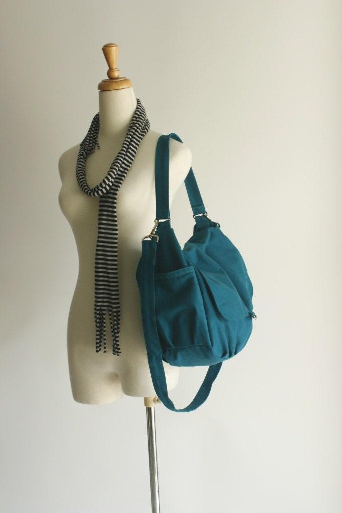 EXPRESS SHIPPING //  Daniel in teal - canvas - zipper closure / Shoulder bag / Cross Body Messenger - christystudio