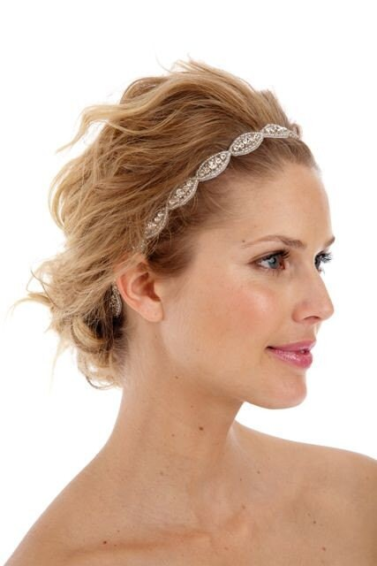 074 - BEST SELLER - Poppy Single Headband- Bridal, crystal, beaded, bohemian, tie on, wedding, headpiece