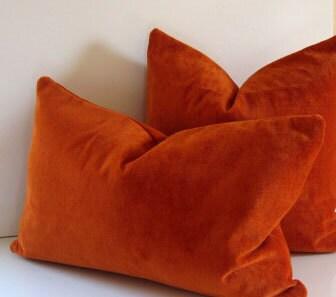 orange pillow 14 x 22 inch decorative pillow vintage orange velvet retro